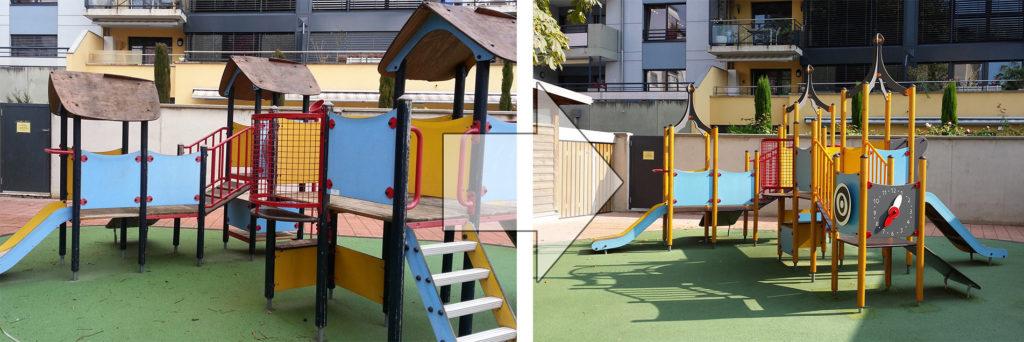 Rénover une structure de jeu sans toucher aux fondations, avant et après