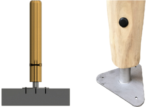 Ancrage hors-sol des poteaux en bois de robinier