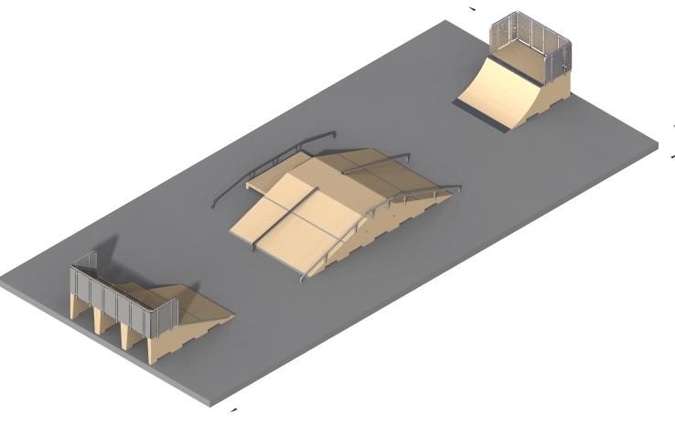 Skatepark avec modules en béton