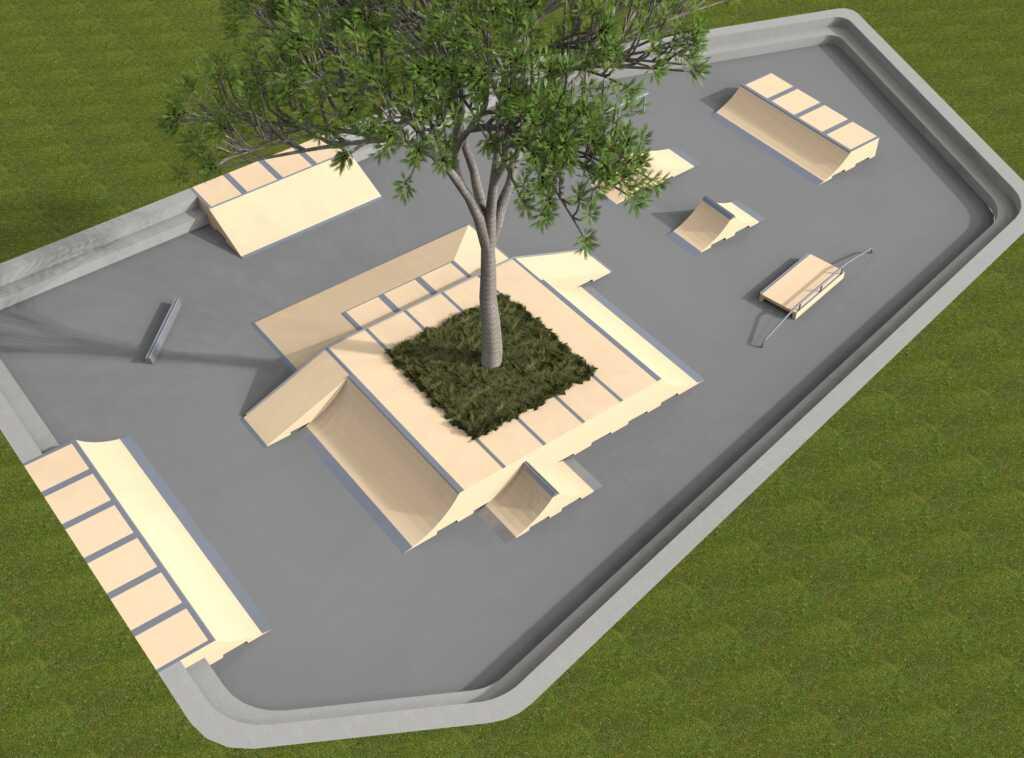 Skatepark réalisé avec nos modules en béton