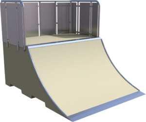 Lanceur skatepark avec modules en béton préfabriqué